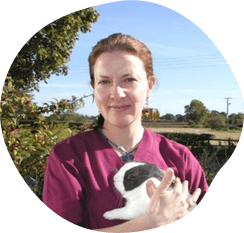 A woman holding a rabbit in a field